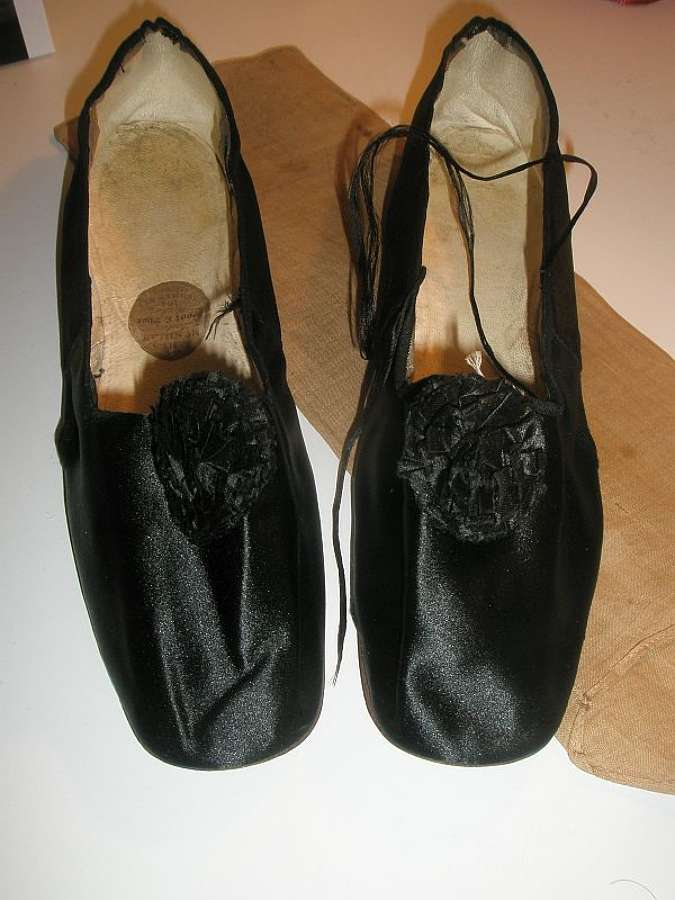 Antique early 19th century black shoes ca. 1830