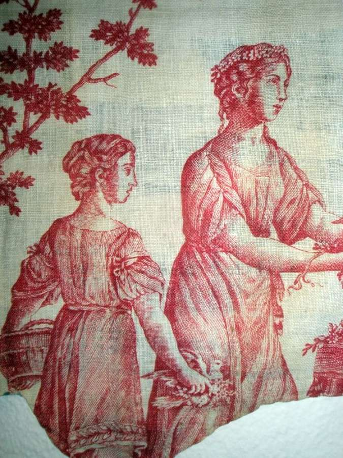 Antique Toile de Jouy pelmet with classical scenes. French 1780s