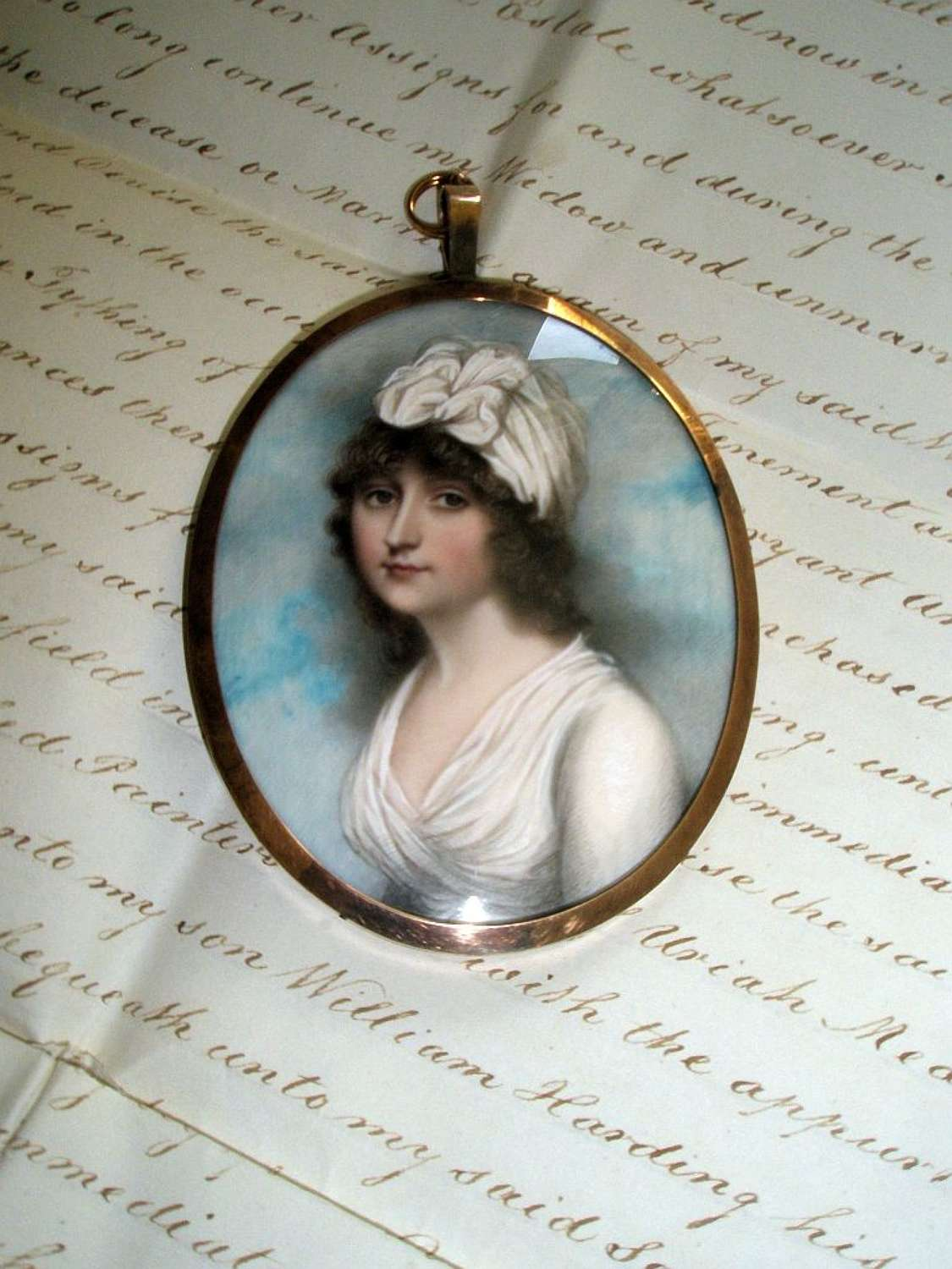 Superb portrait miniature of a young lady byAndrew Plimer ca.1795