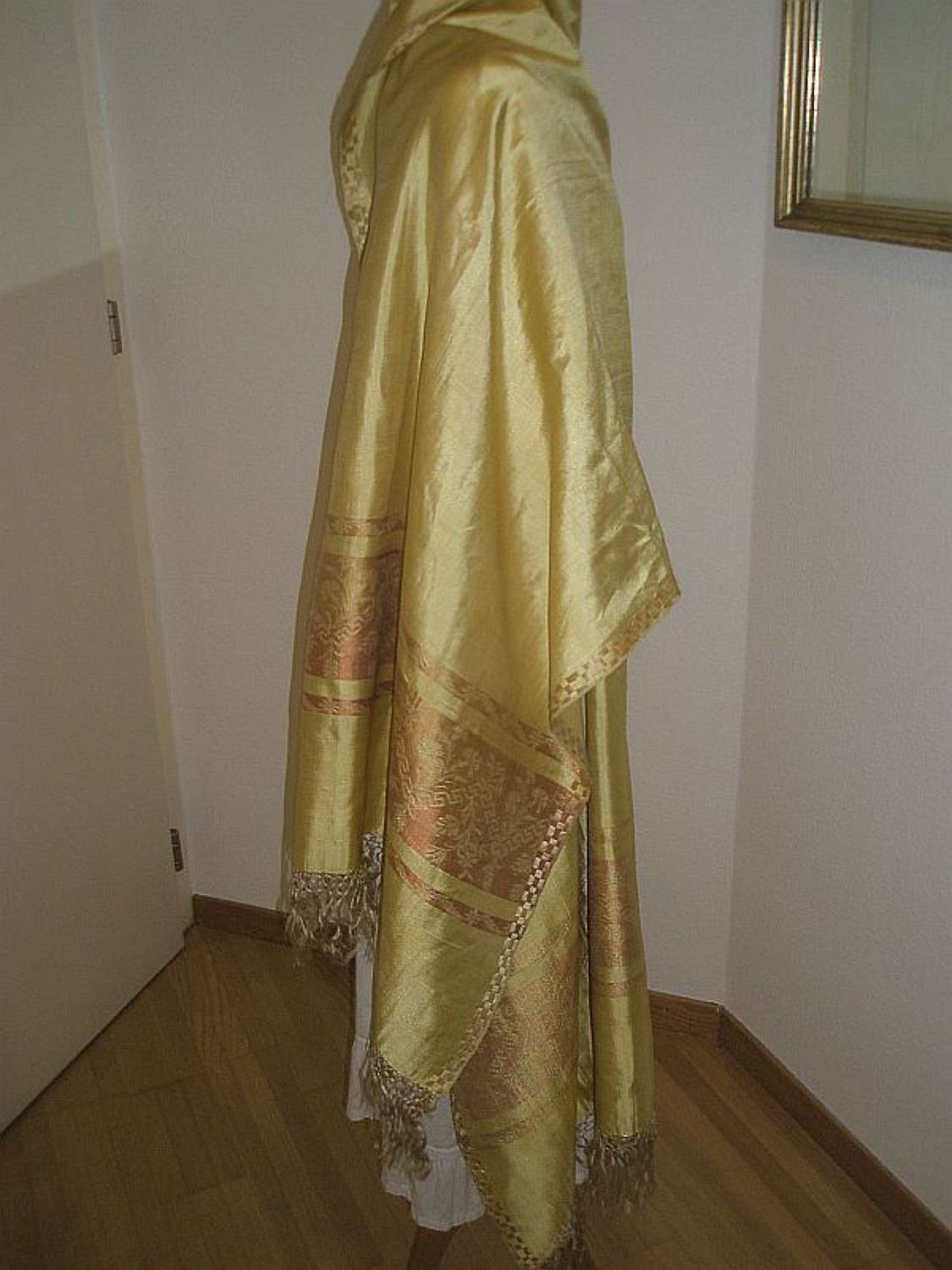 Beautiful buttercup yellow silk shawl. English 1820s