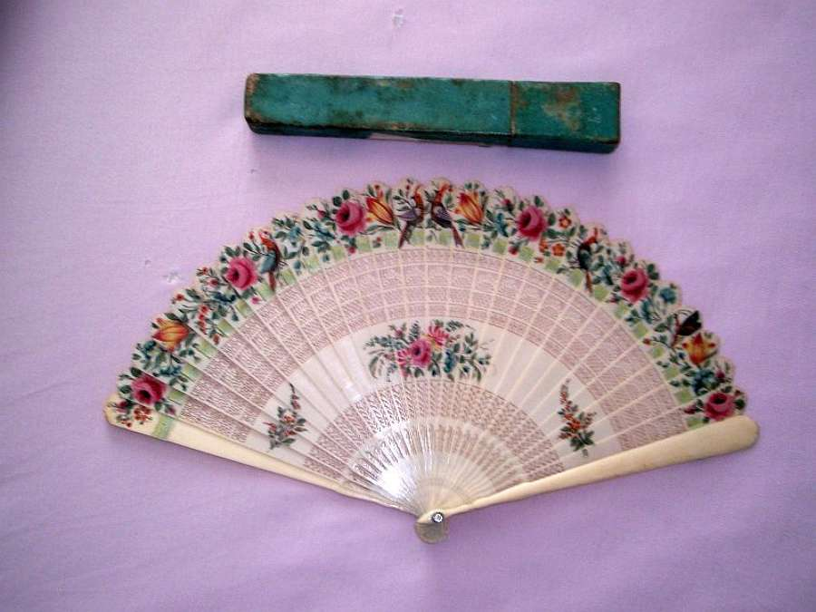 Superb and rare ivory painted brise fan English ca.1810