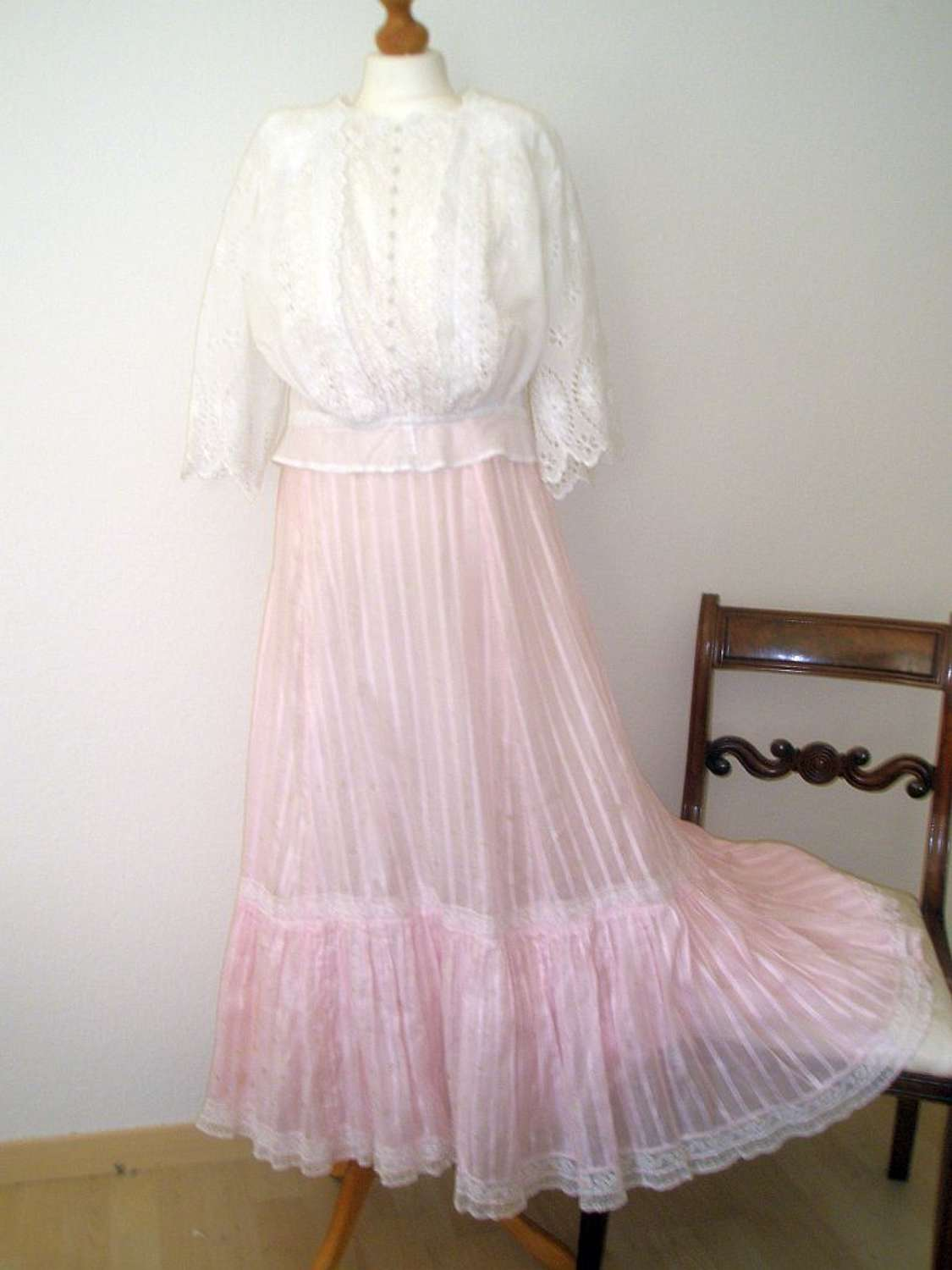 A pretty candy pink late Victorian skirt and broderie anglaise blouse