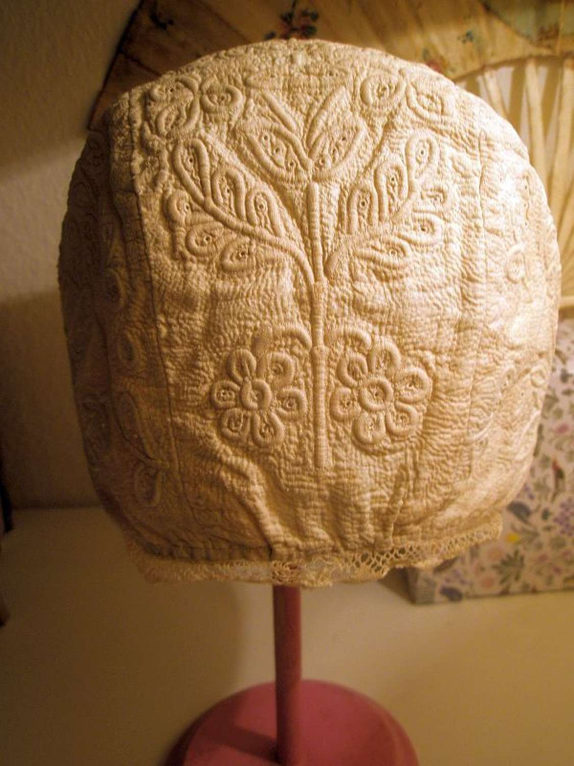 Child's cream cotton corded and quilted bonnet ca.1720