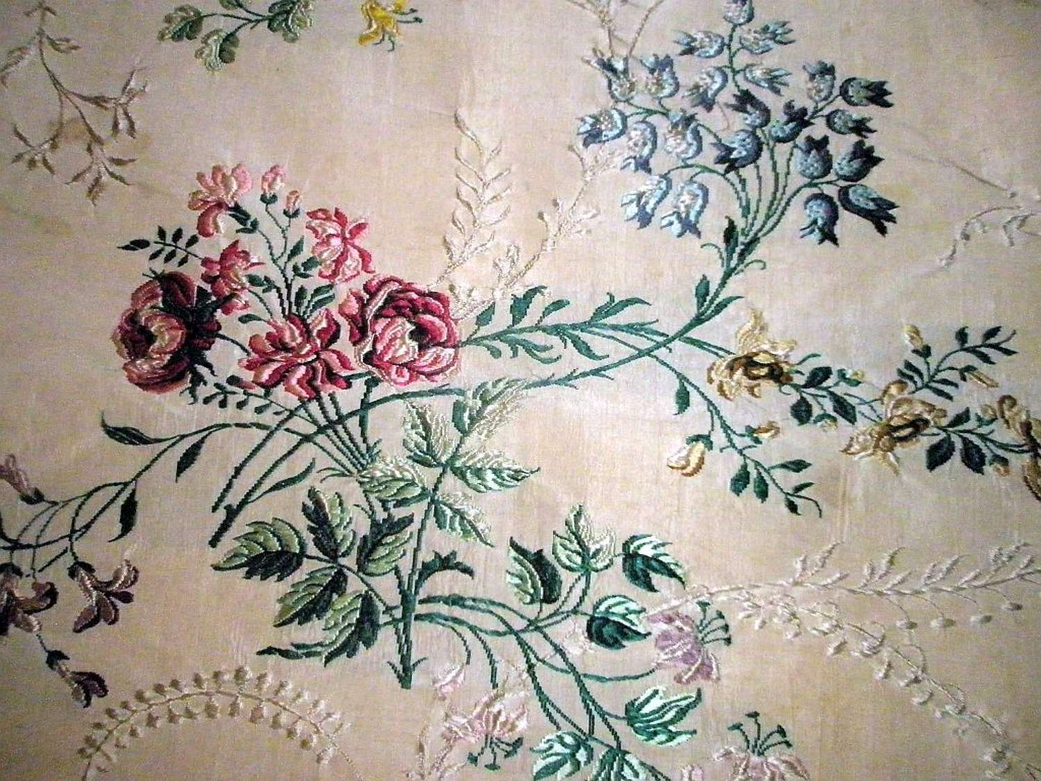 A panel of floral Spitalfields silk. English ca.1750