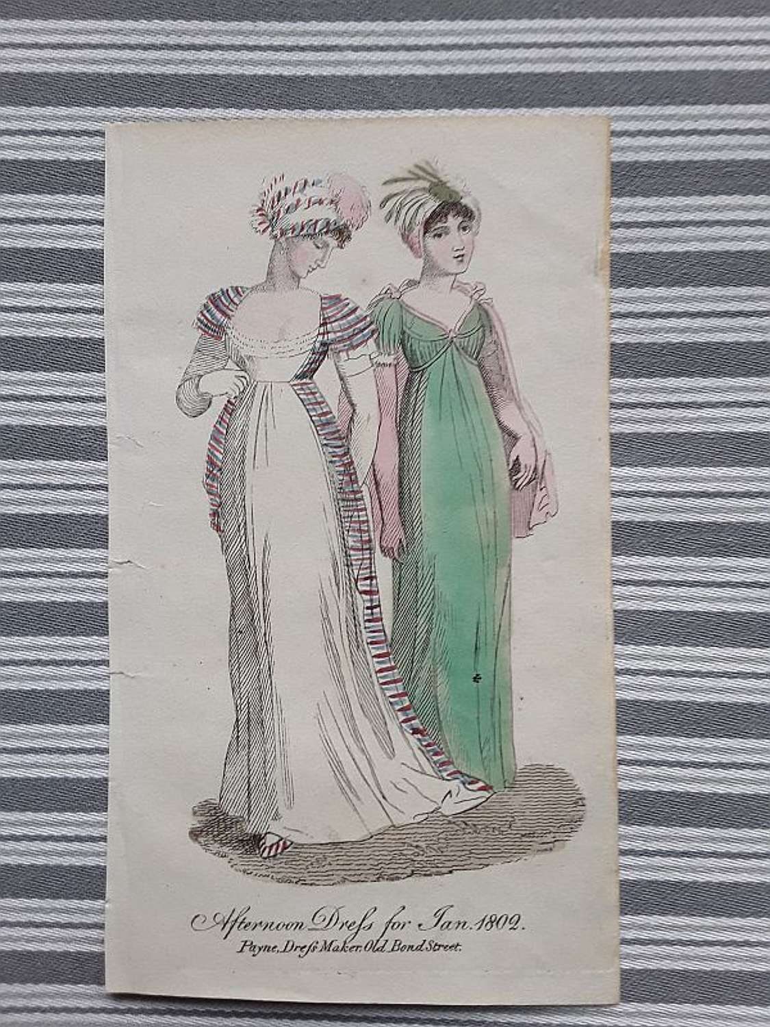 Antique fashion print hand coloured. London 1802
