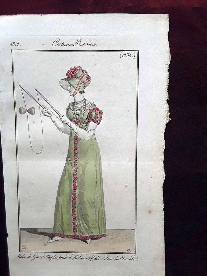 A very rare fashion print. Hand coloured. Date 1812