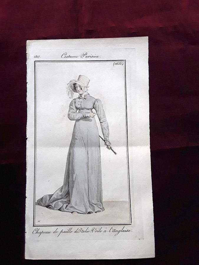 A rare antique fashion print. A Lady in riding habit. 1817
